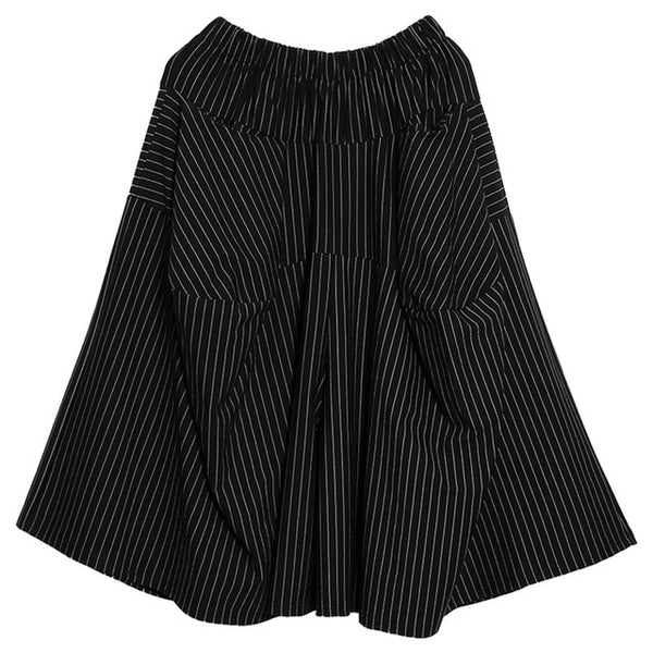 [EAM] 2020 New Spring Autumn High Elastic Waist Black Striped Big Pocket Stitching Wide Leg Pants Women Trousers Fashion JH787