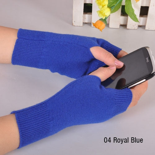 Sales Genuine Fine Sheep Wool Mitt Exposed Finger Women's Gloves Winter Autumn Knitted for Women Fingerless Gloves Wrist Mittens