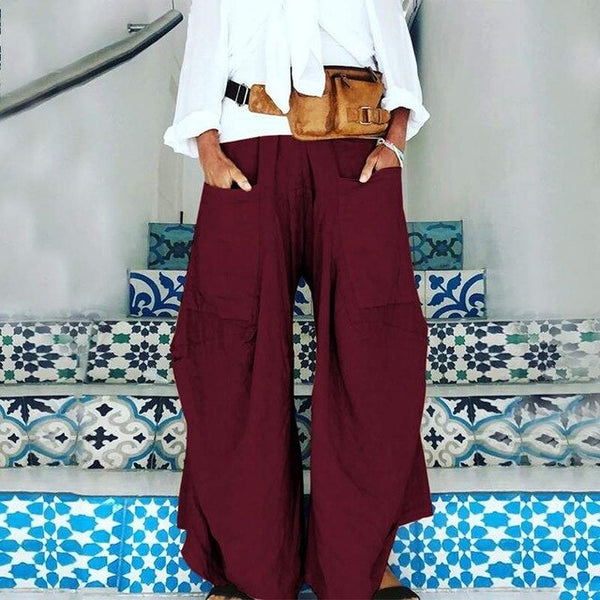 2020 ZANZEA Wide Leg Pants Women's Trousers Casual Solid Elastic Waist Pant Female Front Pockets Pantalon Fashion Palazzo