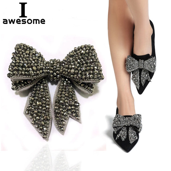 Beautiful Bow Rhinestone Flowers Bridal Wedding Party Shoes Accessories For high Heels Sandals Boots Decorations Shoe's flower