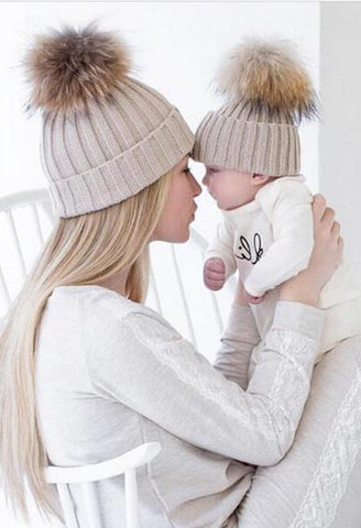 2Pcs Parent-child Hat Baby Girls Boys Hats Women Mother Hat Warm Winter Knit Fur Crochet Pompon Winter Caps LM58-JetSet-JetSet