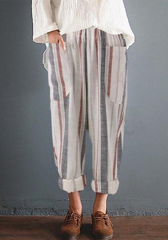 Plus Size Cotton Linen Trousers Women Summer Loose Harem High Waist Stripe Pocket Pant Casual Pantalon Female Sweatpants Trouser
