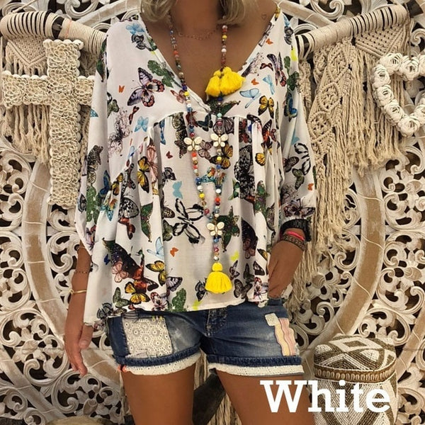 5X Plus Size Boho Womens Tops and Blouses Butterfly Top Print Long Sleeve Shirt Streetwear Ladies Tunic Women Blusas Mujer