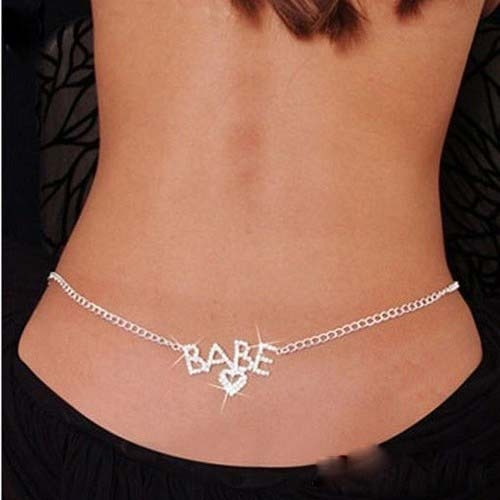Sexy Glittery Silver Color Rhinestone Crystal Body Chain Belly Waist Lower Back Chain Belly Chain For Belly Dance Summer Jewelry