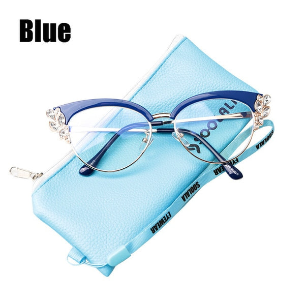 SOOLALA Anti Blue Light Rhinestones Cateye Reading Glasses Women Ladies Eyeglasses Presbyopia Reading Glasses +0.5 to 4.0