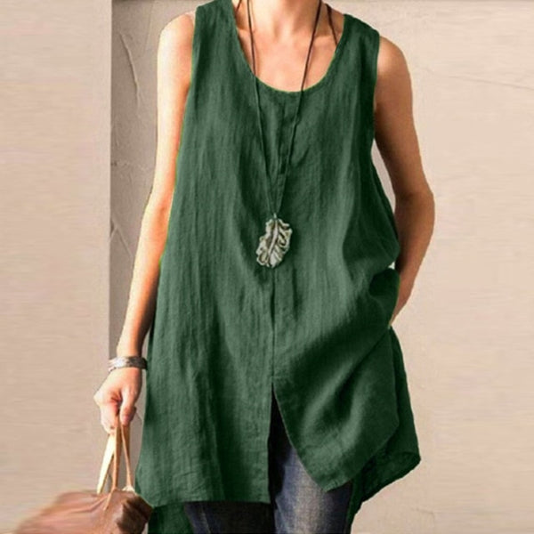 ZANZEA Summer Cotton Linen Blouse Women Sleeveless Tanks Tops Vintage Solid Loose Blusas Plus Size Tunic Split Shirt Female