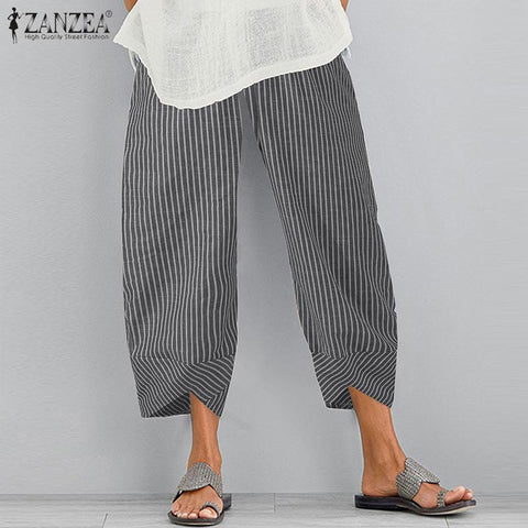 ZANZEA Vintage Floral Printed Pants Summer Women Cotton Linen Trousers Harem Pants Elastic Waist Loose Pantalon Plus Size Pant