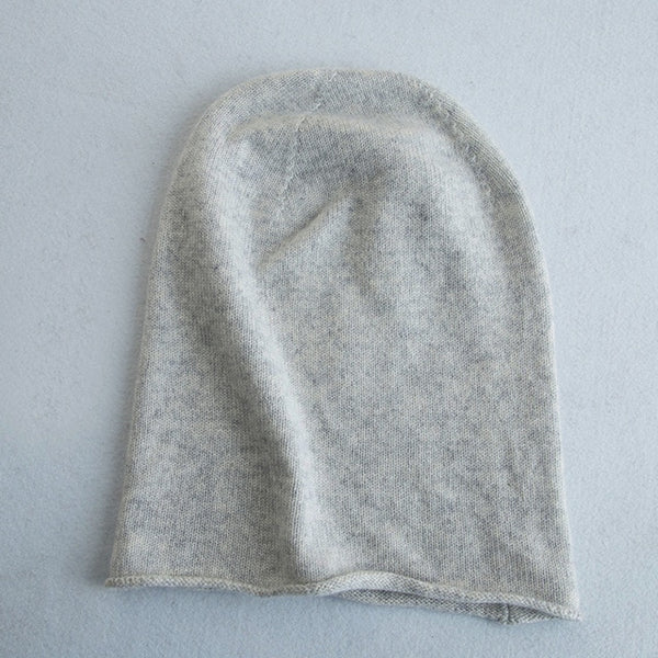 Women 30% Cashmere Thin Caps Simple Solid Rolled Hem Hat Blends Soft Yarn Knit Hat Beanies Wool Winter Spring Warm Caps Skullies