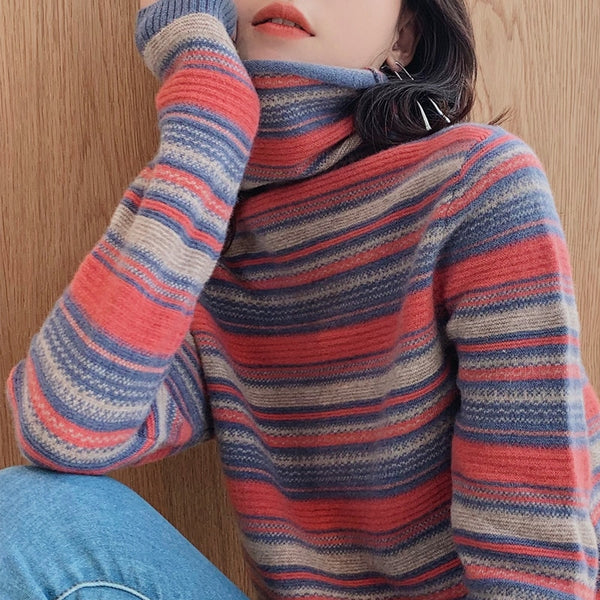 Women's Heap Collar Loose-Fit Autumn and Winter Pullover Knit Low Waist Jersey Turtleneck Sweater