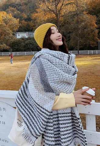 new fashion Autumn winter comfortable long scarf wild warm thick women cute dual-use elegant outdoor striped scarf