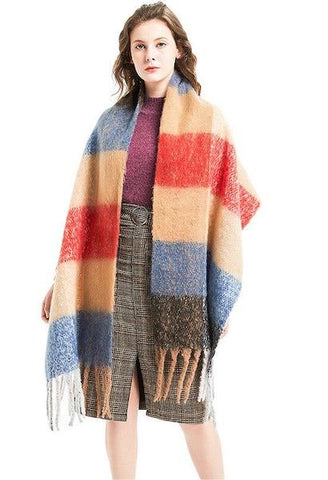 Fashion cashmere women plaid scarf winter warm shawl and wrap bandana pashmina long tassel female foulard thick blanket