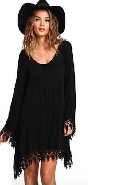 Long sleeve fringed plus big size dress XXL 3XL 4XL 5XL 6XL african oversize chiffon little black dress women clothes 2018-JetSet-JetSet