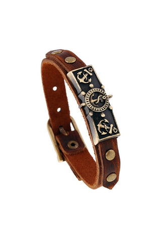 Punk Style Retro Leather Bracelet Anchor Bracelet Wristband For Women Men Fashion Jewelry Wholesale&Retail-JetSet-JetSet