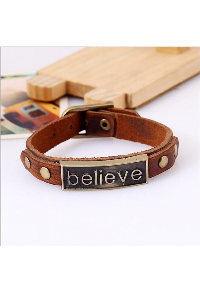 "Punk Style Alloy Leather Bracelet ""believe"" Bracelet Wristband For Women Men Fashion Retro Jewelry-JetSet-JetSet"