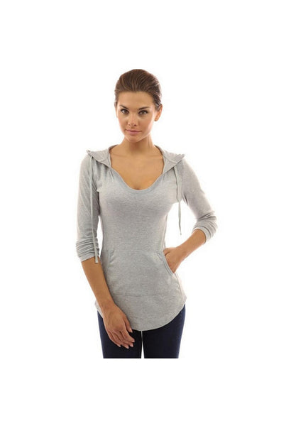 High Quality Women T-shirt Long Sleeve V-neck Pullovers With Pocket Casual Slim Fit Solid Long Tops Feminina Tees-JetSet-JetSet