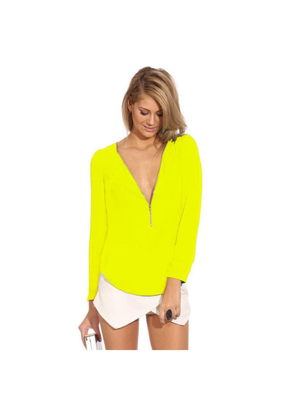 High Quality 2016 New Women Summer Chiffon Ladies Tops Sexy V-Neck Long Sleeve Zipper Ladies Shirt Casual Slim Fit Camisas Mujer-JetSet-JetSet