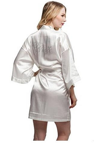 Fashion Silk Bridesmaid Bride Robe Sexy Women Short Satin Wedding Kimono Robes Sleepwear Nightgown Dress Woman Bathrobe Pajamas-JetSet-JetSet