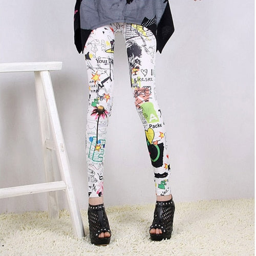 Fashion Women Sexy Stylish Retro Rose Flower Printed Elastic Thin Leggings Trousers Pants Slim Elastic Pants Women-JetSet-JetSet