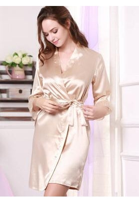 e9007b50985 Women Silk Satin Short Night Robe Solid Kimono Robe Fashion Bath Robe –  JetSet