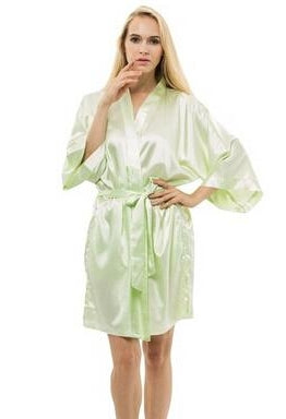 Women Silk Satin Short Night Robe Solid Kimono Robe Fashion Bath Robe Sexy Bathrobe Peignoir Femme Wedding Bride Bridesmaid Robe-JetSet-JetSet