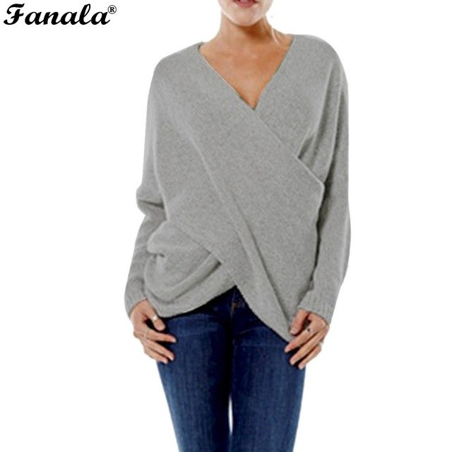FANALA Sexy Autumn and Winter Women Pullover Sweaters female Drop,Shoulder  Cross Wrap Sweater thickening sweater top thread slim