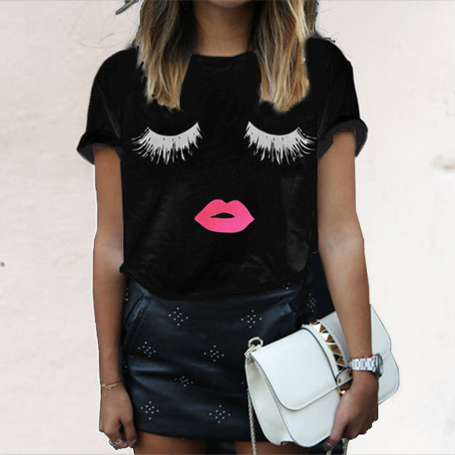 EMIR ROFFER eyelash red lips tshirts print letters female T-shirt plus size summer tee shirt femme harajuku shirt women tops-JetSet-JetSet