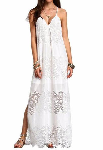 a4971869857 ZANZEA Fashion Womens Summer Beach Party Dresses Deep V Neck Split Sleeveless  White Lace Maxi Long