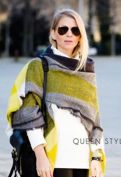 New oversized Brand Scarf Woman's Winter Warm Blanket Scarf Shawl acrylic Multifunction Thick Cape Gift-JetSet-JetSet