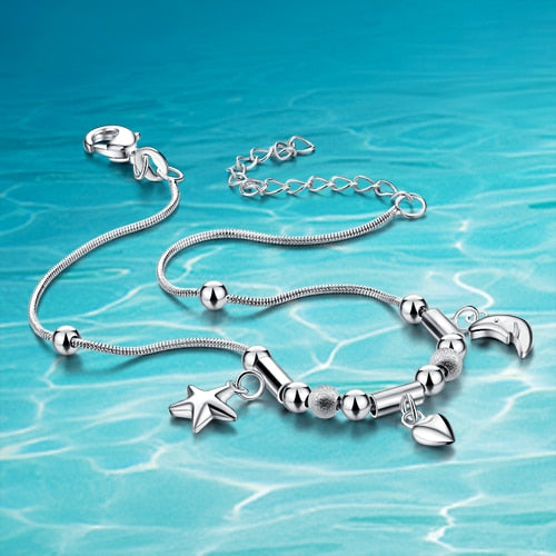 Hot sale!!! 925 women sterling silver anklets;925Sterling silver; 925 genuine solid pure silver jewelry;-JetSet-JetSet