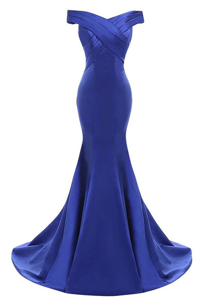 Off Shoulder Formal Dresses Sweep Train Vestido De Fiesta Mermaid Royal Blue Long Evening Dress 2018 CG81-JetSet-JetSet