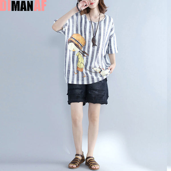 DIMANAF Summer T-Shirt Plus Size Women Linen Cartoon Striped Print Female Casual T-Shirt Loose Short Sleeve Big Size Tops&Tees-JetSet-JetSet