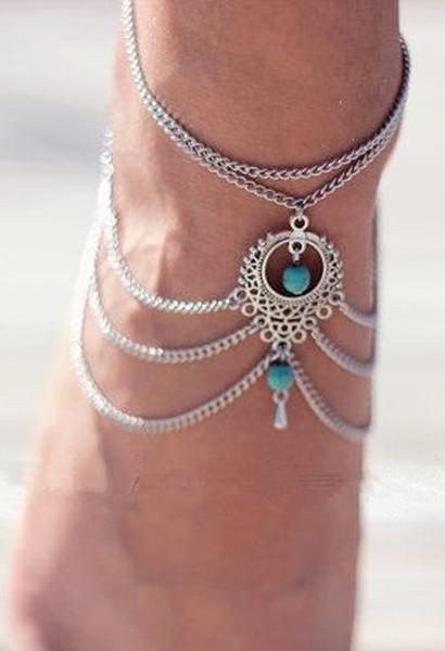 Summer Bohemian Ankle Chain Silver Foot Bracelets Anklets For Women Ethnic Tassel Beads Multilayer Chain On Foot Ankle jewelry-JetSet-JetSet
