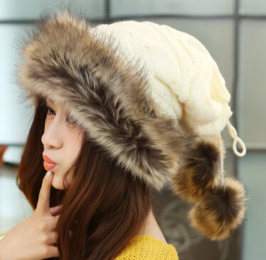 Winter Hat Women Fur Cap Warm Plus Velvet Dual Use Hats For Women Thicken Knitting Caps Ladies Winter Beanie Wool Hat-JetSet-JetSet