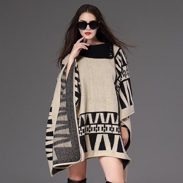 New Women loose turn-down collar Poncho grid Scarf personalized Poncho Women's Knit Shawl Scarf Poncho-JetSet-JetSet