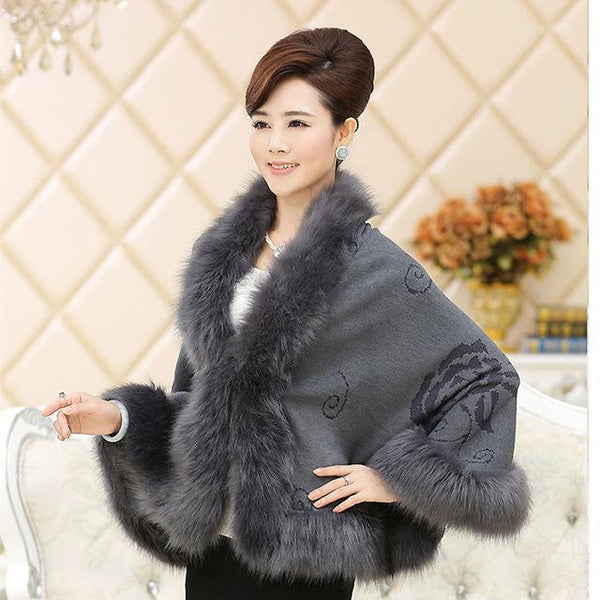 New Winter Women Sweater Cardigan Female Fox Fur Collar Poncho Cape Bridal Wedding Wool Shawl Cape 12 Colours-JetSet-JetSet