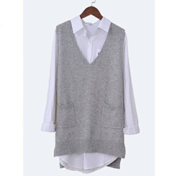 Women's Spring Autumn Cashmere Knitted Vest Both Sides Split Loose Sweater Vest Waistcoat Female Pullover Sleeveless Tops-JetSet-JetSet