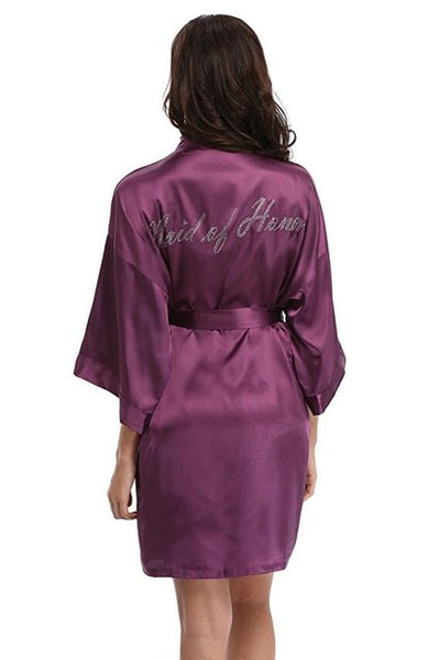 "Satin Faux Silk Wedding Bride Bridesmaid Robes,White Bridal Dressing Gown/ Kimono Bathrobes,""BRIDE""""BRIDE MAID"" Graphic on Back-JetSet-JetSet"