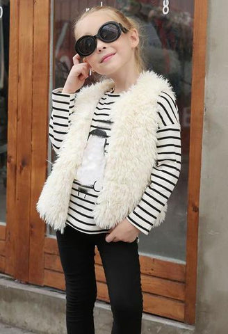 Kid Baby Girl Autumn Winter Faux Fur Waistcoat Thick Coat Warm Winter Outwear Clothes girls clothing drop ship-JetSet-JetSet