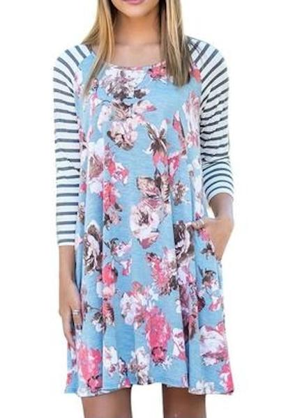Fashion Floral Printing Autumn Dress Women Casual Stripe Long Sleeve Loose Dress Party Pleated Mini Dress Feminine Dresses-JetSet-JetSet