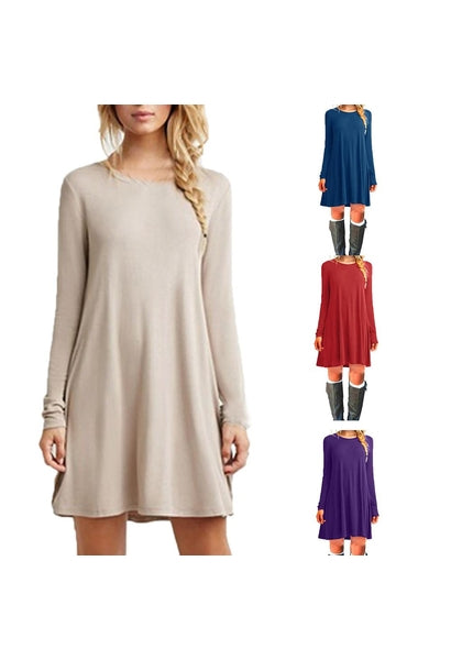 Vintage Autumn Dress Women Sexy Thin Casual O-Neck Clothing Solid Simple Long Sleeves A-line Dress Vestidos Loose-JetSet-JetSet