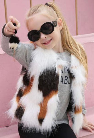 Kid Girl Autumn Winter Vest Faux Fur Waistcoat Thick Coat Warm Outwear Girls Clothes children clothing drop ship #M-JetSet-JetSet