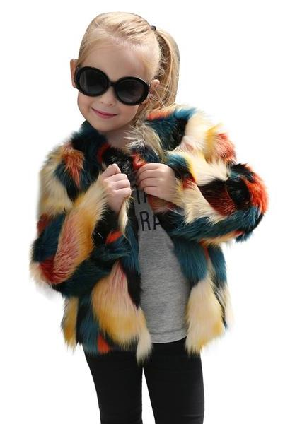 Kids Baby Girls Autumn Winter Faux Fur Coat Jacket Thick Warm Stitching long sleeve coat Outwear Clothes drop ship-JetSet-JetSet