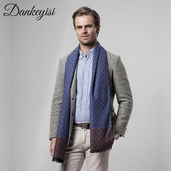 DANKEYISI Scarf Men Business Luxury Brand Plaid Cashmere Scarves Shawl Male Foulard Wool hijab Bandana Autumn Scarves For Men-JetSet-JetSet