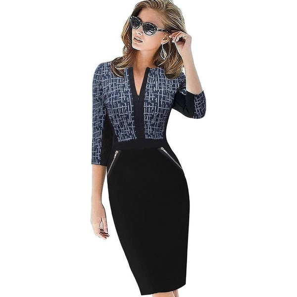 Plus Size Front Zipper Women Work Wear Elegant Stretch Dress Charming Bodycon Pencil Midi Spring Business Casual Dresses-JetSet-JetSet