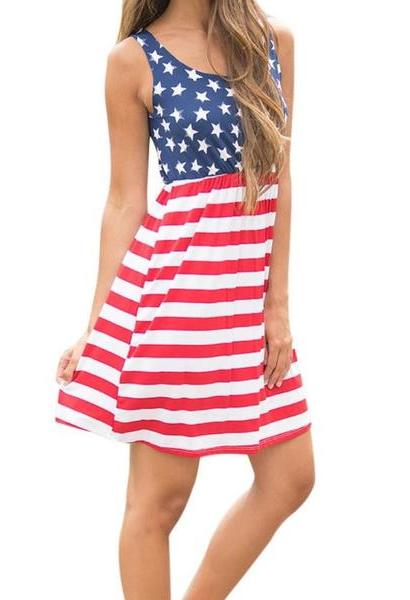 Hot American Flag Printing Womens Summer Dress 2017 Vintage Sexy Sleeveless Fit and Flare Cotton Mini Dress Femme Vestidos-JetSet-JetSet