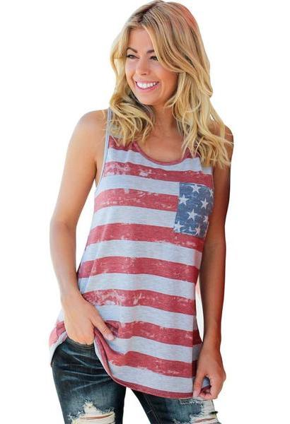 Summer Top Women American Flag Stripe Printed Bowknot Tank Tops Casual Blusa Red T Shirt cropped feminino-JetSet-JetSet