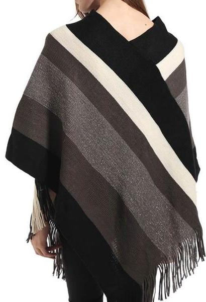 Autumn Winter Cotton Blends Women scarf Knitted shawl Poncho Sexy Striped V neck Irregular Hem Casual Loose Pullover Jumper-JetSet-JetSet