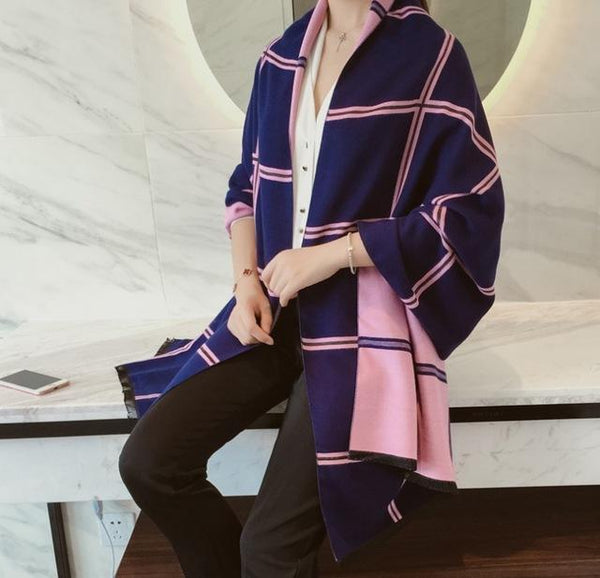 winter style Design Shawls Scarves for Women Plaid Luxury Scarf Winter Brand Square Soft Cashmere lady Women pink stripe Scarf-JetSet-JetSet