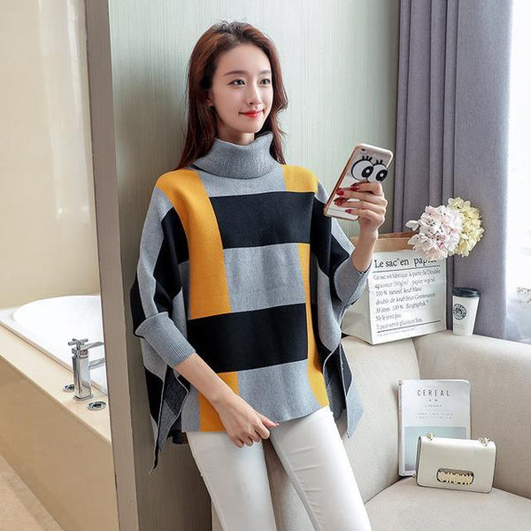Women Casual Pullover Autumn Winter Fashion Female Ponchos And Capes High Collar Bat Sleeve Knit Shawl Pullovers-JetSet-JetSet