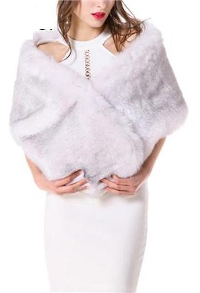 Women Dress Shawl Fashion White Black Khaki Fur Shawl bride wedding dress bridesmaid wedding wraps fur cape outerwear-JetSet-JetSet